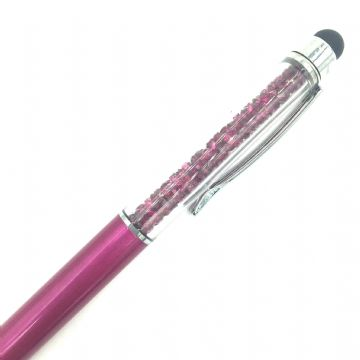 Sparkling ball point crystal pen with stylus - fuchsia pink